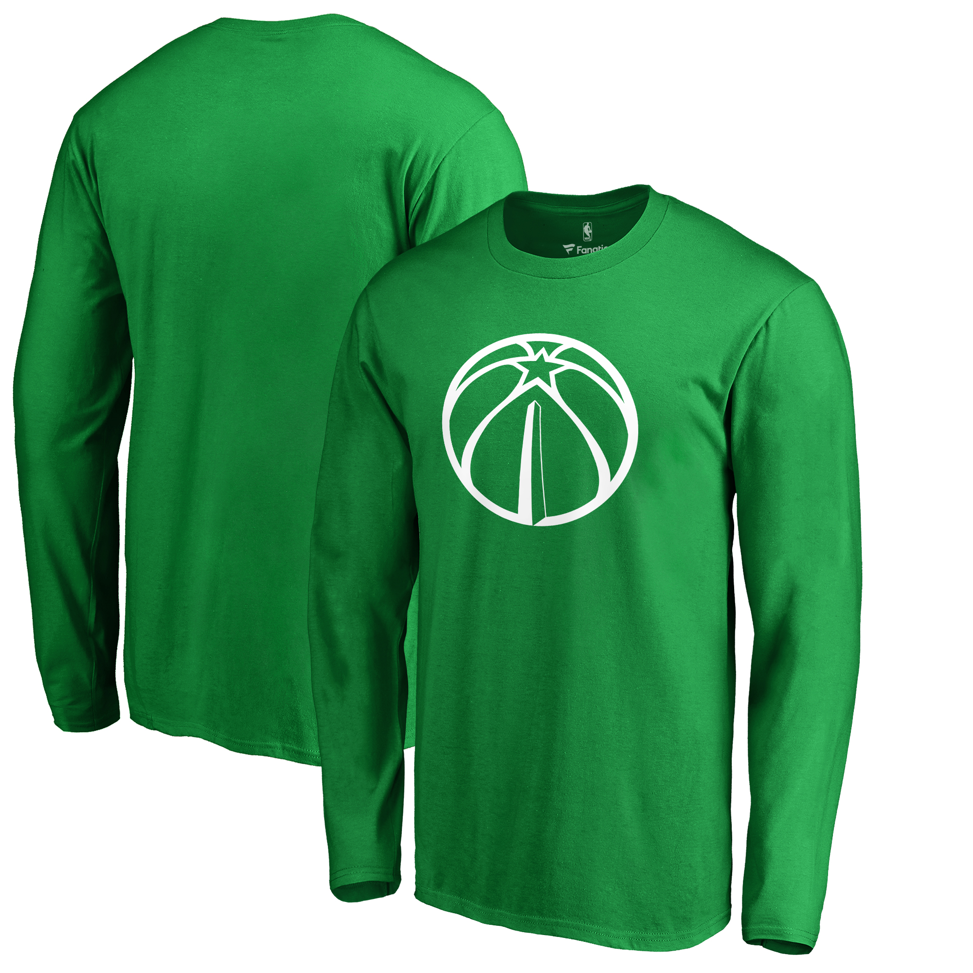 Washington Wizards Fanatics Branded St. Patrick's Day White Logo Long Sleeve T-Shirt - Kelly Green