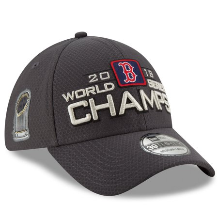 Boston Red Sox New Era 2018 World Series Champions Locker Room 39THIRTY Flex Hat - Charcoal - OSFM