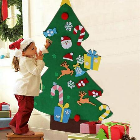 Puzzle Toys Kids Gifts Stick Door Wall Hanging Xmas Decor Felt Christmas Tree