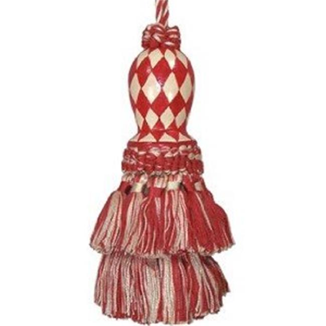 123 Creations CB047RD Harlequin Red hand painted tassel