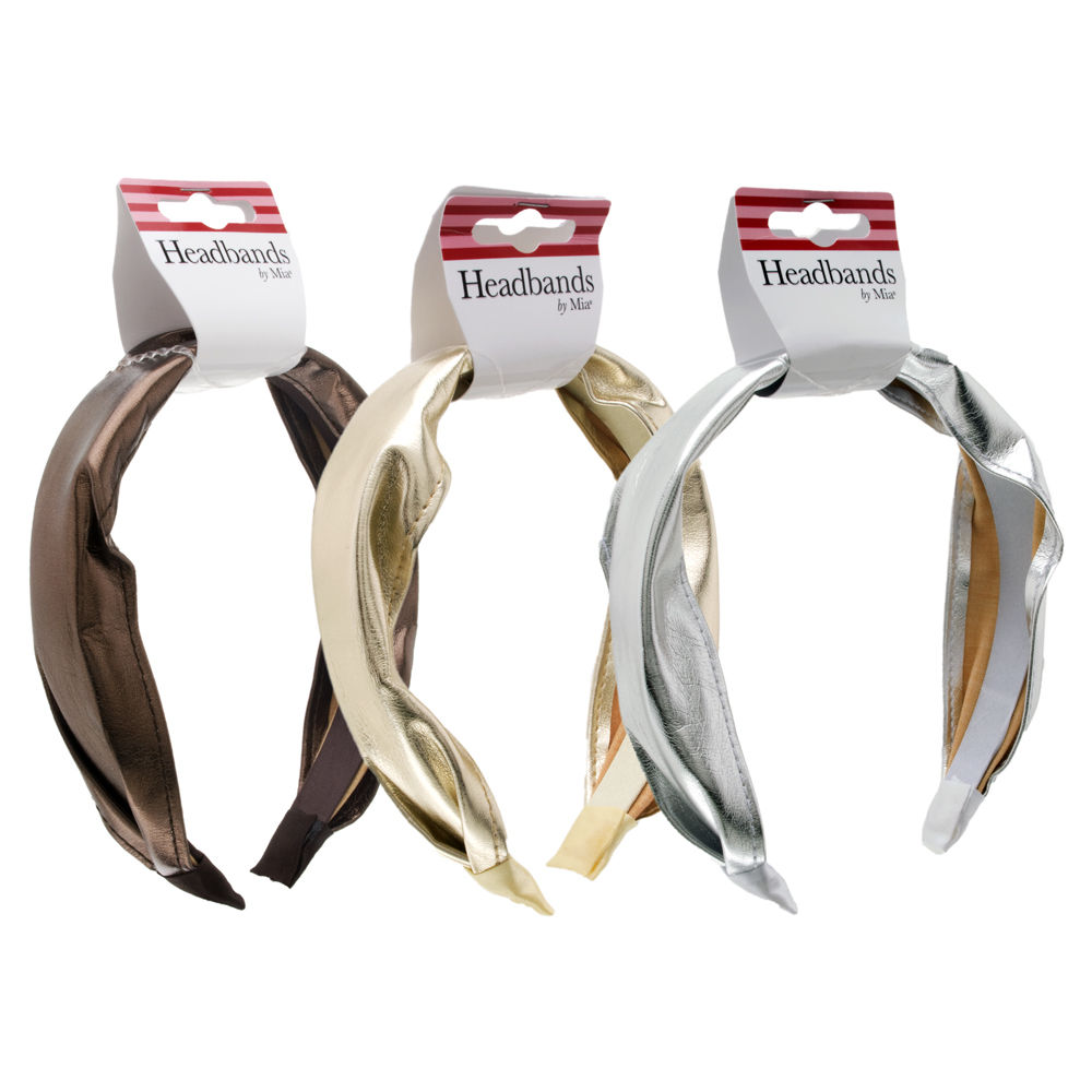 ***Discontinued***Gold/Silver/Bronze Faux Leather Metallic Headband