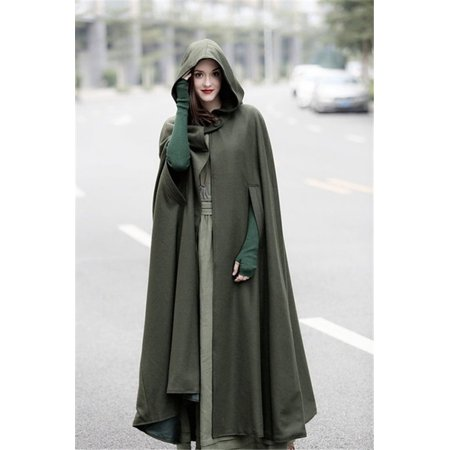 Women Maxi Hooded Wool Coat Cloak Maxi Cashmere Cape Hooded