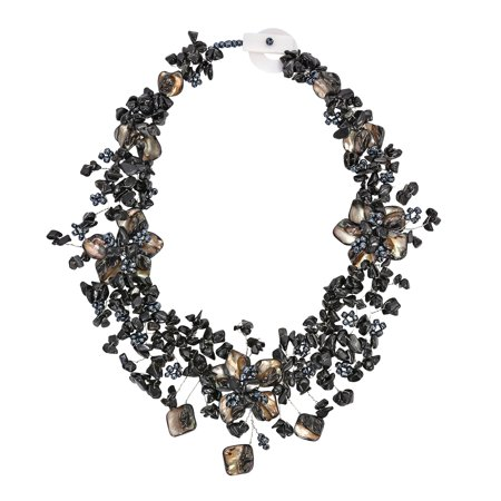 Beaded Onyx Necklace (Exotic Dark Garden Back Onyx, Shell, and Bead Floral Statement Necklace )