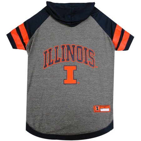 Pets First College Illinois Fighting Illini Pet Hoody Tee Shirt  4 Sizes Available