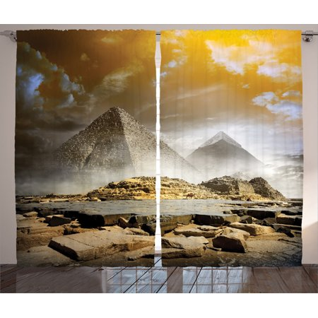 Egyptian Decor Curtains 2 Panels Set, Storm Clouds Over Pyramids Magical Photo Of Ancient Culture Icons Middle Eastern Art, Living Room Bedroom Accessories, By Ambesonne (Egyptian Panel)