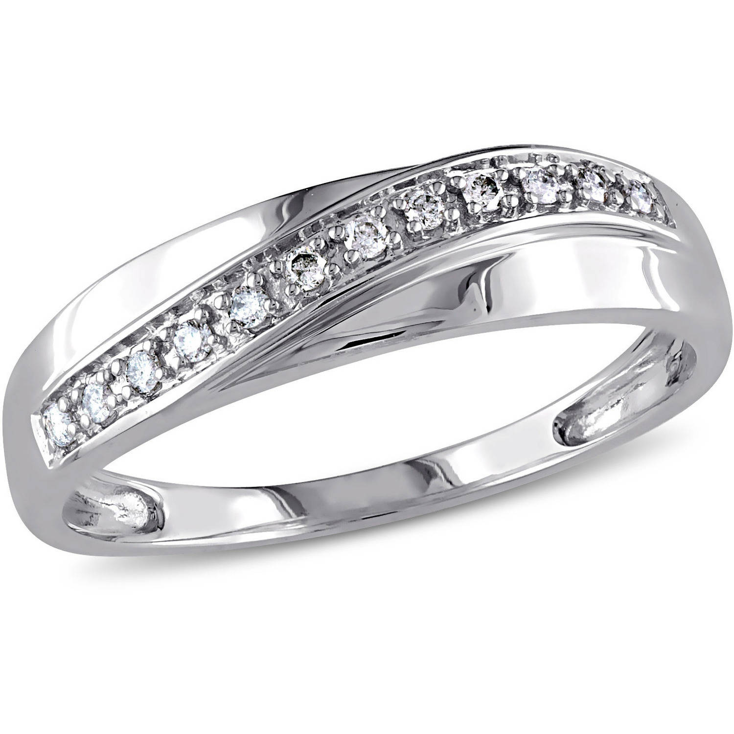 Miabella Men's Diamond-Accent Fashion Ring in 10kt White Gold