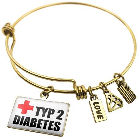 Expandable Wire Bangle Bracelet Medical Alert, type 2 diabetes