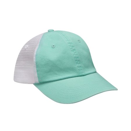 VB101 VIBE Cotton mid weight twill crown and visor with nylon mesh back panels and six panel and unstructured and low profile cap with heavy enzyme wash and dyed to match snap back cloure.