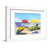Sun Screen Beach Umbrella Chair Umbrella Coastal Ocean Landscape Art Framed Print Wall Art By Scott Westmoreland