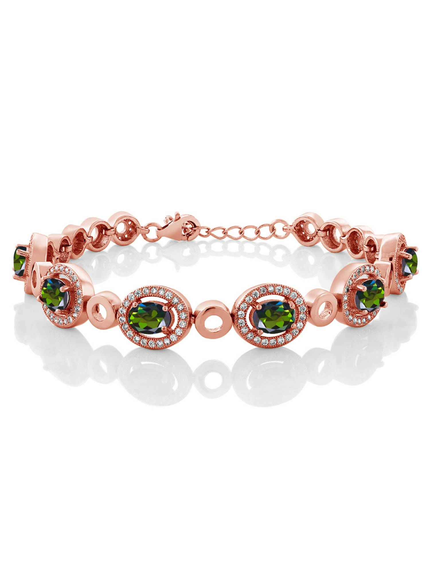 6.72 Ct Tourmaline Green Mystic Topaz 18K Rose Gold Plated Silver Bracelet by