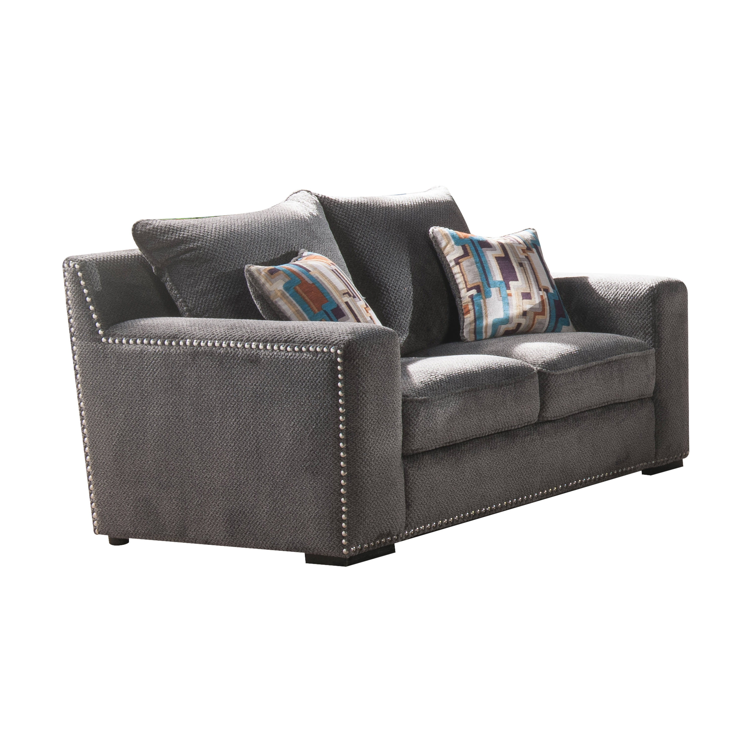 Acme Ushury Down Feather Loveseat with 2 Pillows in Gray Fabric