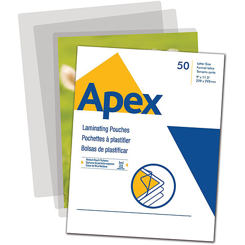Apex Medium Laminating Pouches, Letter Size 5mm, 50 Per Pack