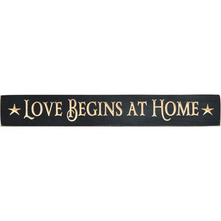 "Sign - Engraved Black ""Love Begins At Home"" - Star Accents Primitive Country Rustic Distressed Wood Plaque"