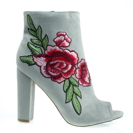 Morris03C by Wild Diva, Floral Embroidered Stitching On Peep Toe Chunky Block Heel Ankle Bootie, Dress
