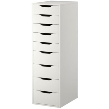 Ikea Drawer Unit with 9 Drawers, White, ALEX 501.928.22 ()