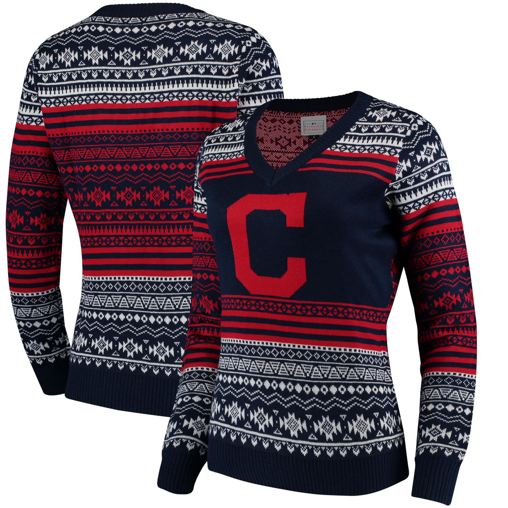 Cleveland Indians Women's Big Logo Aztec V-Neck Sweater - Navy