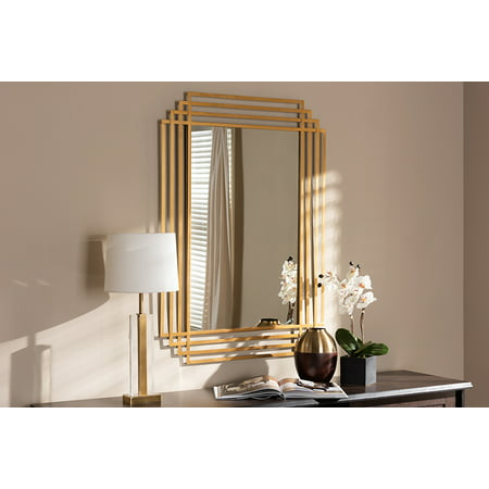 Art Deco 5 Light Antique (Baxton Studio Kalinda Art Deco Antique Gold Finished Rectangular Accent Wall Mirror)