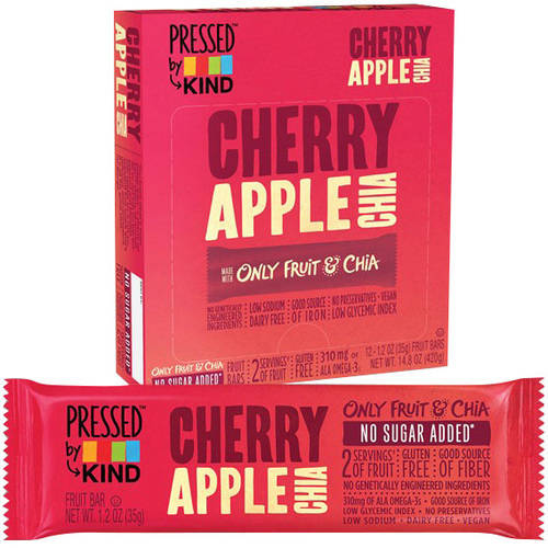 Pressed by Kind Cherry Apple Chia Fruit Bar, 1.2 oz, (Pack of 6)