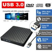USB 3.0 External DVD CD Drive, Slim Portable External DVD/CD RW Burner Drive for Laptop, Notebook, Desktop, Macbook Pro, Macbook Air