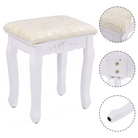 Goplus White Retro Wave Design Makeup Dressing Stool Pad Cushioned Chair Piano Seat