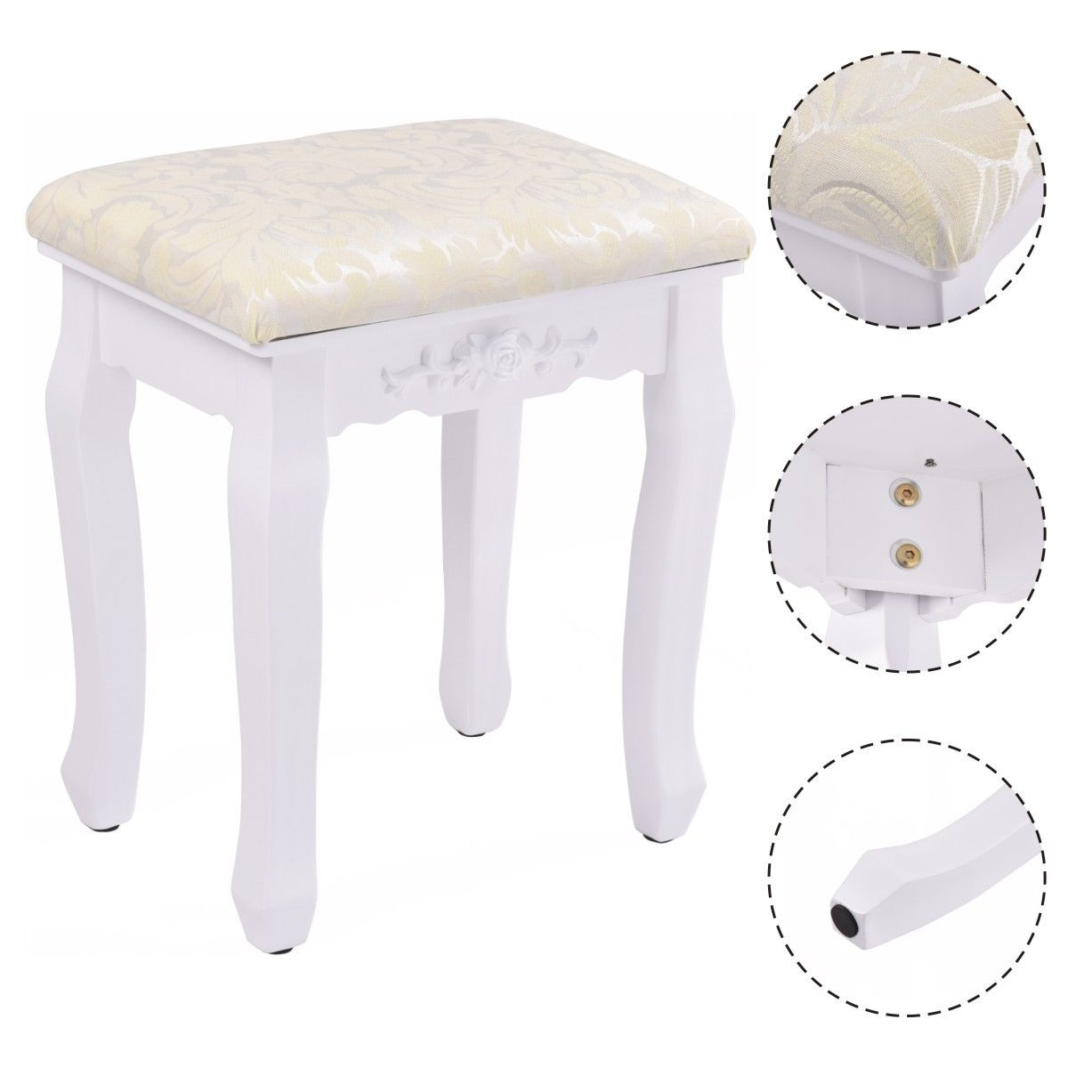 Costway White Retro Wave Design Makeup Dressing Stool Pad Cushioned Chair  Piano Seat