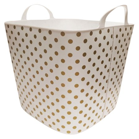 Life Story 25 Liter Plastic Home Storage Container Bin Tub Basket, Gold Polkadot (Lief Store)