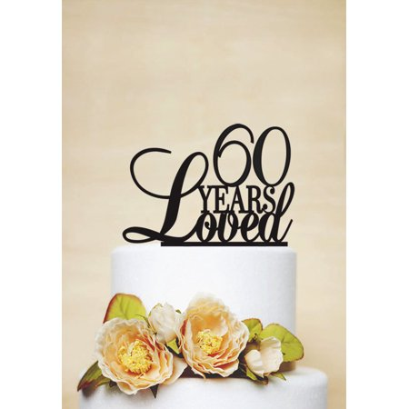 RENEWFOX 60 Years Loved Cake Topper60th Anniversary Birthday Topper Party Decor