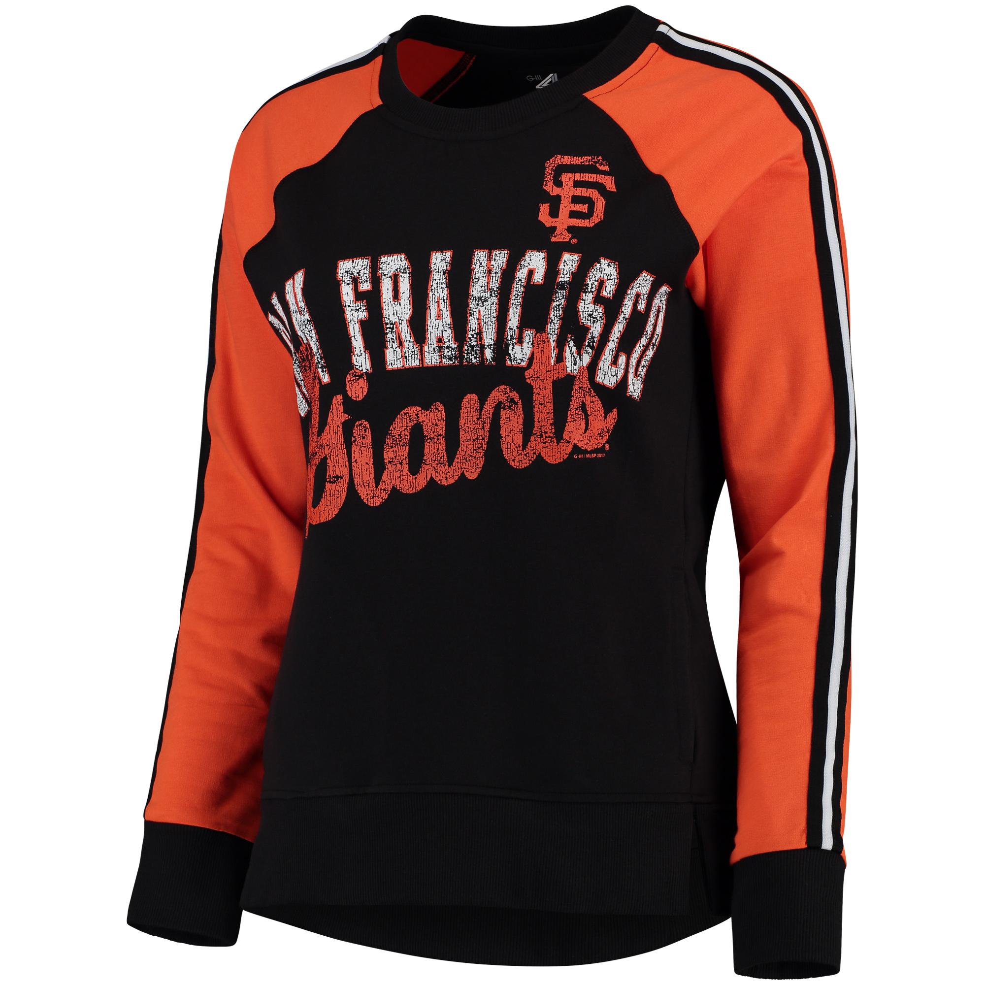 Women's G-III 4Her by Carl Banks Black/Orange San Francisco Giants Perfect Pitch Pullover Sweatshirt