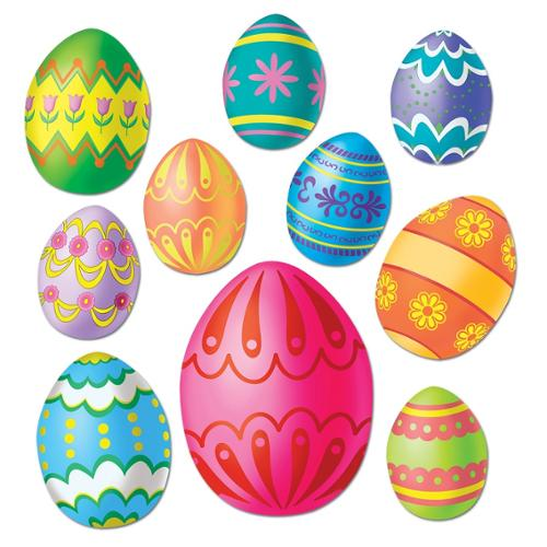 Club Pack of 240 Colorful Easter Egg Cutout Holiday Decorations 12""
