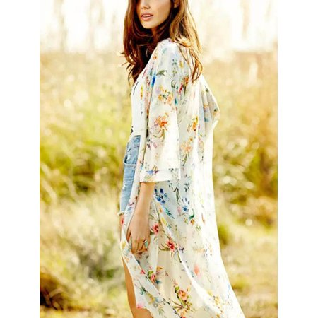 Nicesee Casual Womens Boho Maxi Floral Printed Loose Kimono Cardigan