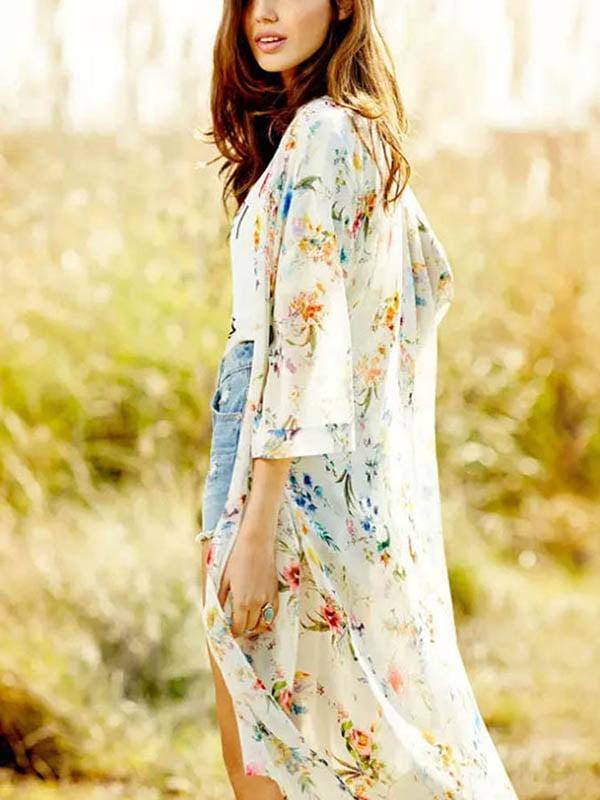 Nicesee Casual Womens Boho Maxi Floral Printed Loose Kimono Cardigan