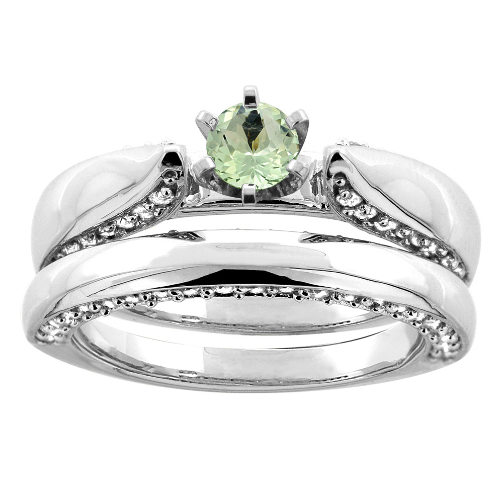 14K White Gold Natural Green Amethyst 2-piece Bridal Ring Set Diamond Accents Round 5mm, size 7 by Gabriella Gold