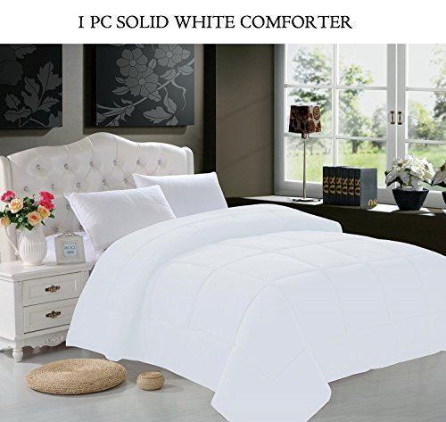 Luxury Goose Down Alternative Double-Filled Comforter, Twin, White, Luxury ultra soft hi-loft down alternative comforter all year-round.., By Elegant Comfort