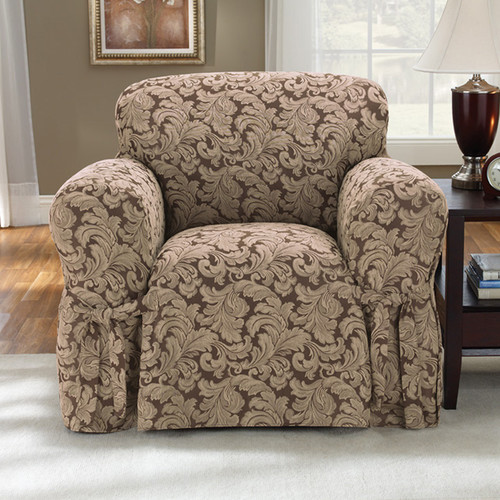 Sure Fit Scroll Brown Chair Slipcover Walmart Com