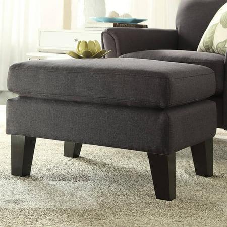 Pleasant Tribeca Espresso Finish Dark Grey Linen Ottoman Pdpeps Interior Chair Design Pdpepsorg