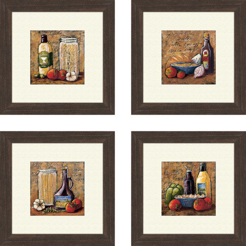PTM Images Kitchen Rustic 4 Piece Framed Painting Print Set
