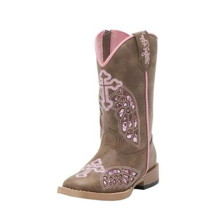 Blazin Roxx 4443202-09 Western Boots Children Gracie Cross Wings, Brown - Size 9 Womens Kings Cross Boot