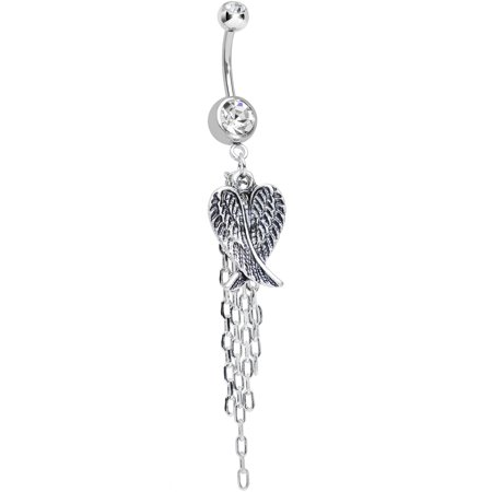 Dangle Belly Chain - Clear Double Chain Streamer Angel Wing Dangle Belly Ring