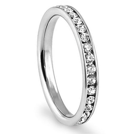 Eternity Wedding Ring - 316L Stainless Steel White Cubic Zirconia CZ Eternity Wedding 3MM Band Ring Sz 7