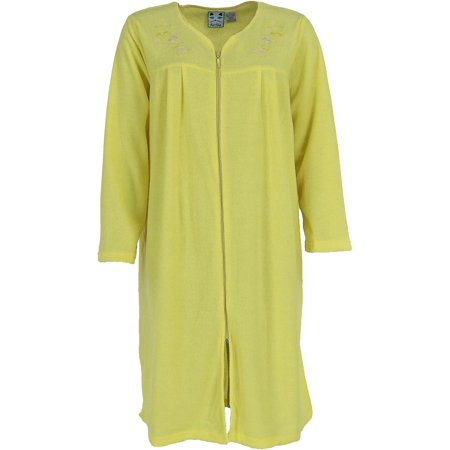 Embroidered Robe Set (Women's Embroidered Zip Front Terry Duster Robe )