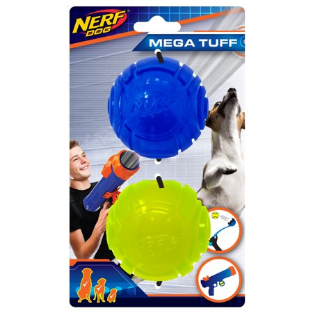 Nerf Dog 2.5in ULTRA Translucent TPR Sonic Ball 2-PACK - Blue and Green, Dog Toy