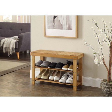 Ktaxon 2 Tier Hallway Shoe Bench Entryway Storage Natural Solid Bamboo Organizer Rack ()
