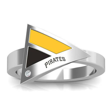 Pittsburgh Pirates Bixler's Women's Engraved Diamond Geometric Ring - Yellow/Black - Pittsburgh Steelers Rings