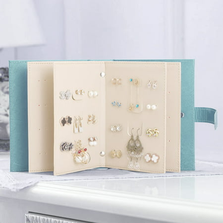 Pretty See Portable Earring Book Earring Holder Case Ear Stud Storage Box, Jewelry Organizer, Capable to Hold 42 Pairs of Earrings, Blue ()