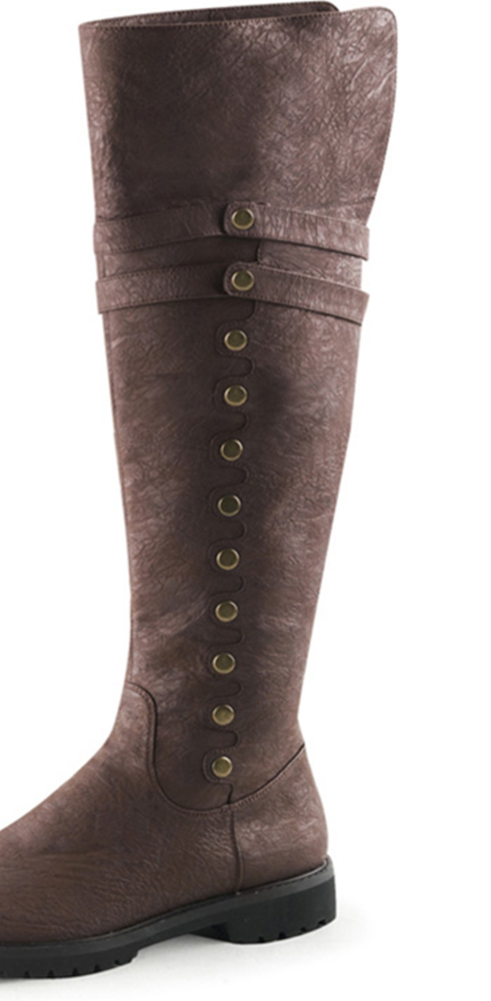 0ad71fff9a1 Men Brown Boots Knee High Pirate Boots with Fold Over Cuff and 1.5'' Flat  Heels