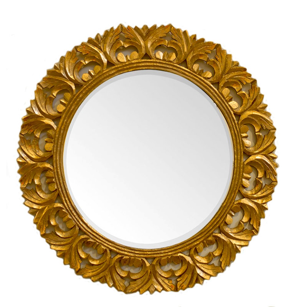ContemporaryStyle Round Mirror With Wooden Carvings, Gold by Benzara