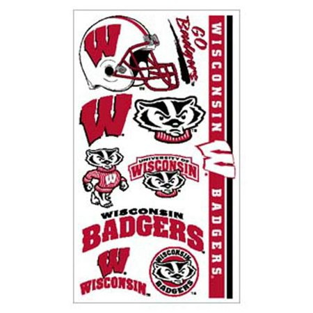 Wisconsin Badgers Temporary Tattoo Face Decals 10 Pack