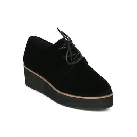 New Women Betani Misty-2 Velvet Lace Up Platform Oxford Loafer Creeper - Misty Cosplay Shoes