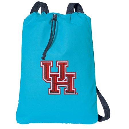 University Of Houston Halloween Party (Canvas University of Houston Drawstring Backpack Aqua Natural Cotton UH Cinch Bag with Wide)