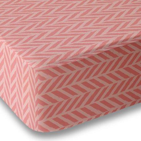 Where The Polka Dots Roam Crib Sheet Microfiber for Boys and Girls - Herringbone Pattern  - Coral